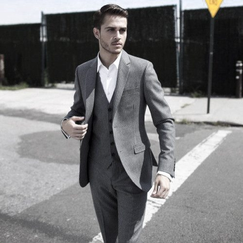 Manly Pinstripe Grey Suit Male Style Ideas
