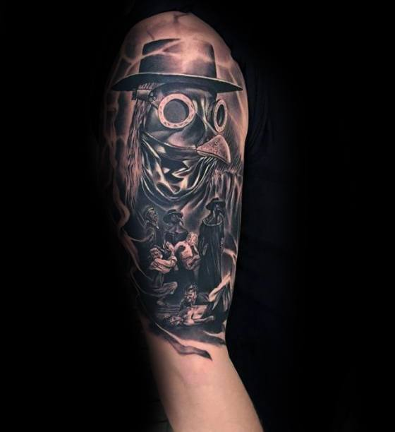 Manly Plague Doctor Tattoo Design Ideas For Men Half Sleeve