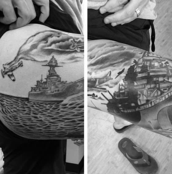 Manly Plane Crashing Into Sea With Navy Ship Mens Arm Tattoo Designs