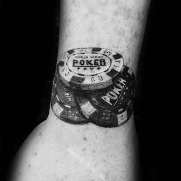 Manly Poker Chip Tattoo Design Ideas For Men On Wrist