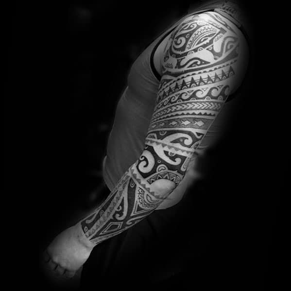 Manly Polynesian Guys Traditional Tribal Tattoo Design Ideas