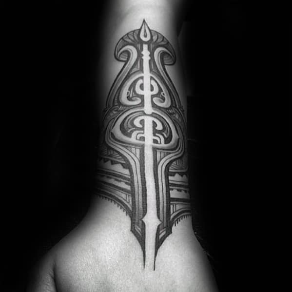 Manly Polynesian Male Tribal Forearm Tattoo