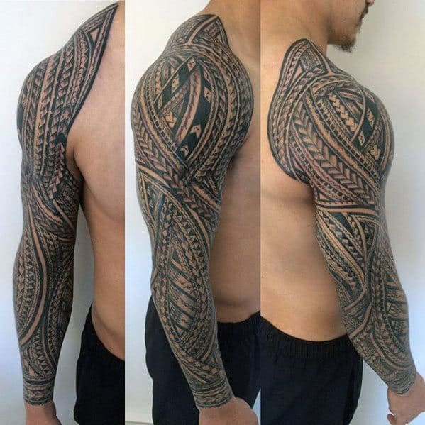 Manly Polynesian Male Tribal Sleeve Tattoos