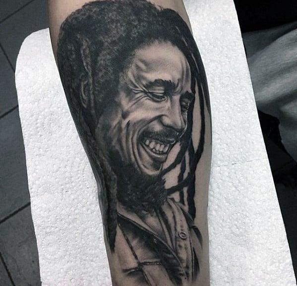 Manly Portrait Bob Marley Tattoo Design Ideas For Men