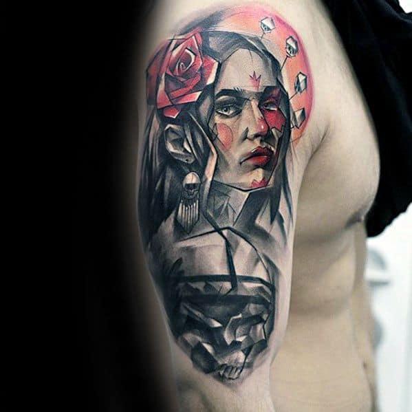 Manly Portrait Tattoo Design Ideas For Men On Arm