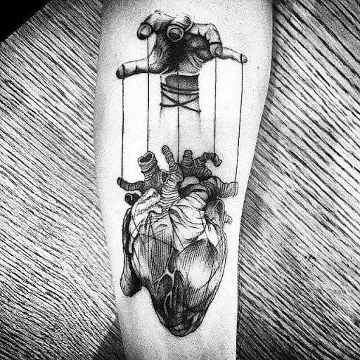 Manly Puppet Strings 3d Heart Tattoos For Males