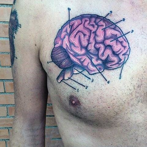 Manly Purple Brain Tattoo Mens Chest