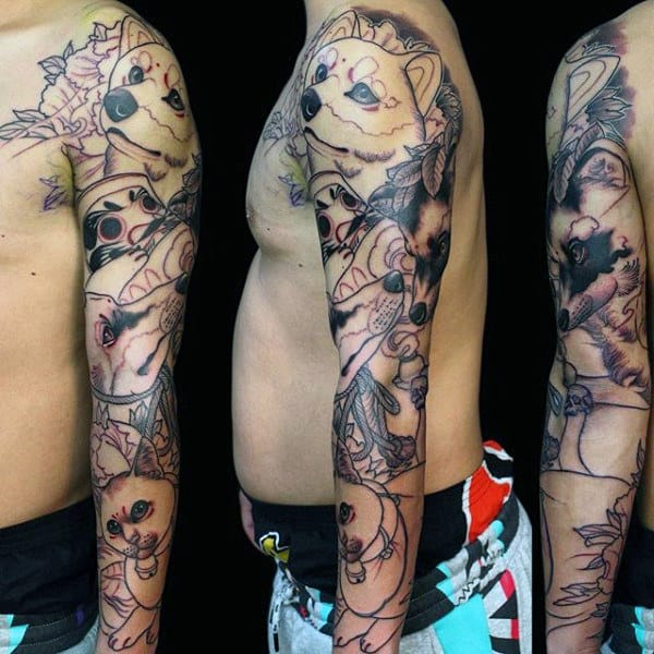 Manly Raccoon Full Sleeve Guys Nature Tattoo Ideas