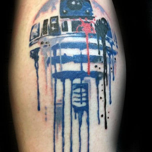 Manly Rd2d Dripping Paint Wateroclor Leg Calf Tattoos