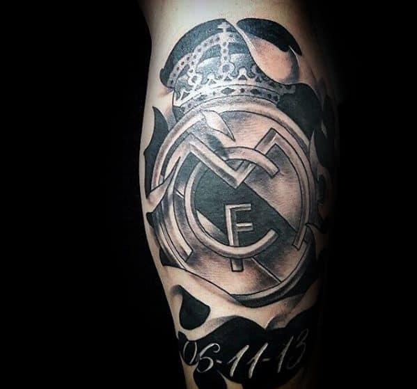 Manly Real Madrid Tattoo Design Ideas For Men On Back Of Leg