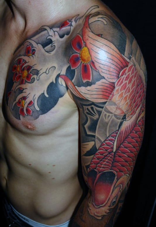 Manly Red And Blue Koi Fish Men's Tattoo
