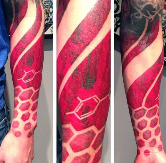 Manly Red Ink Honeycomb Forearm Sleeve Tattoos For Males