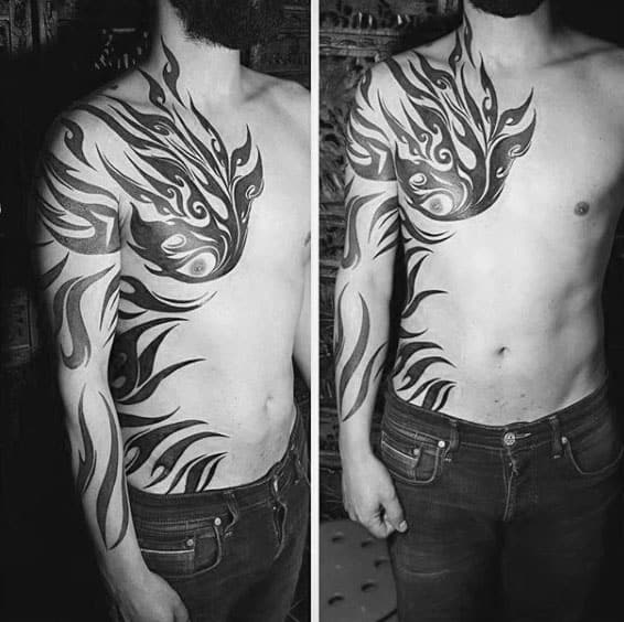Manly Ribs And Tribal Tattoos For Mens Arms
