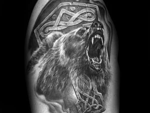 Manly Roaring Celtic Bear Guys Arm Tattoo