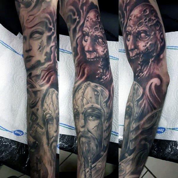Manly Rune Full Sleeve Viking Tattoo On Gentleman