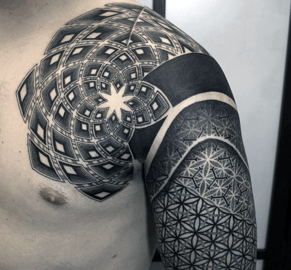 Manly Sacred Geometry Mens Tattoo Design Ideas On Shoulder