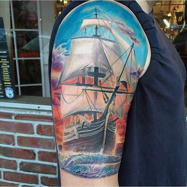 Manly Sailing Ship Modern Half Sleeve Tattoo Designs For Guys