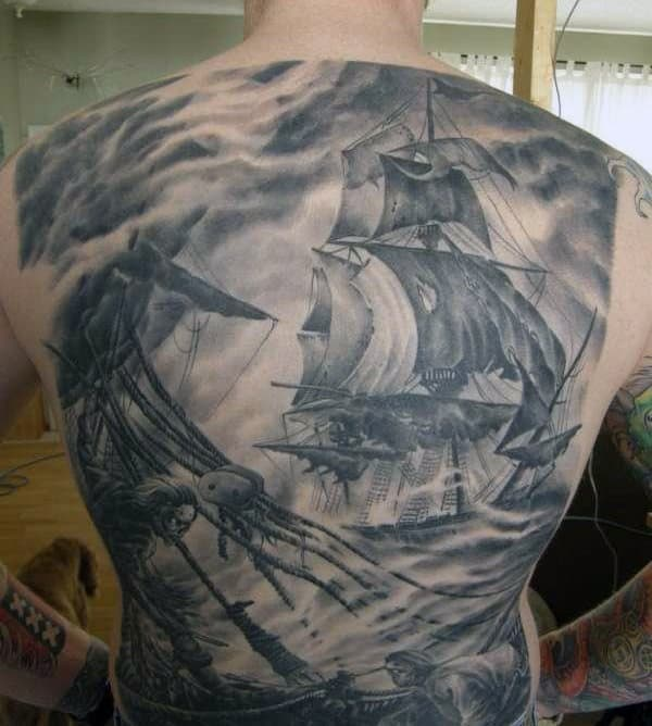 Manly Sailing Ship Tattoos
