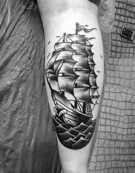 Manly Sailor Traditional Tattoos On Man