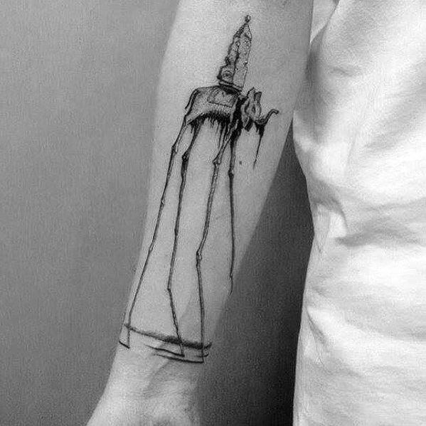 Manly Salvador Dali Elephant Inner Forearm Tattoo Design Ideas For Men