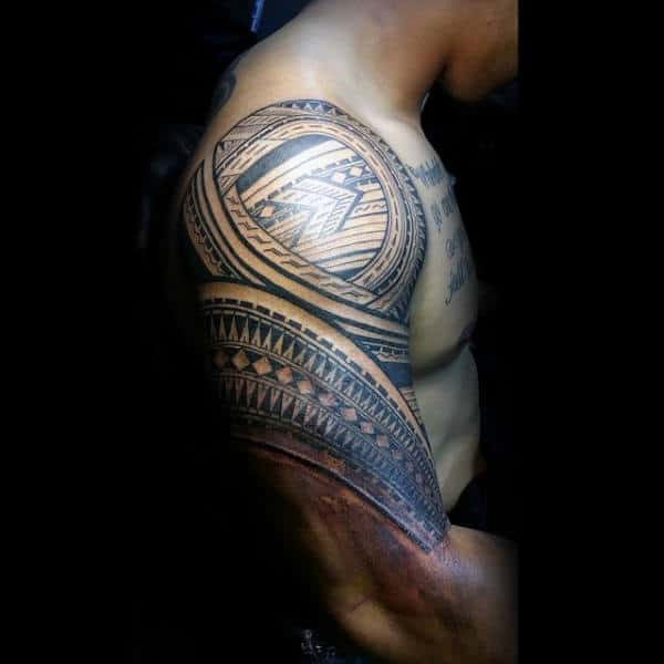Manly Samoan Guys Tattoo Ideas Half Sleeve Tribal