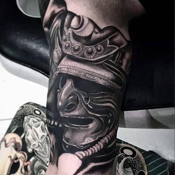Manly Samurai Helmet Inner Arm Bicep Guys Tattoos