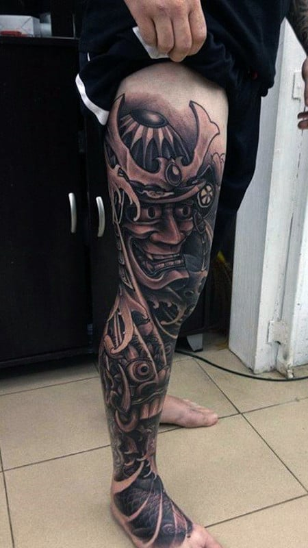 Manly Samurai Warrior Tattoo Designs Full Leg Sleeve