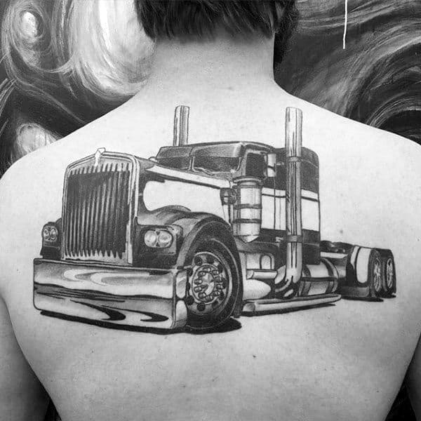 Manly Semi Truck Mens Back Tattoos