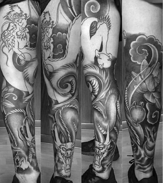 Manly Shaded Black And Grey Ink Male Dragon Leg Tattoos