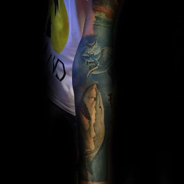 Manly Shark Sleeve Tattoo Ideas For Gentlemen