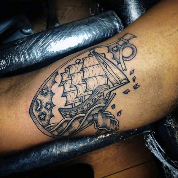 Manly Ship In A Bottle Arm Tattoo With Dotwork Design