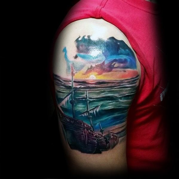 Manly Shipwreck Quarter Sleeve Tattoo Design Ideas For Men