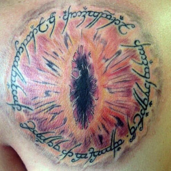 Manly Shoulder Blade Bac Eye Of Sauron Tattoo Design Ideas For Men