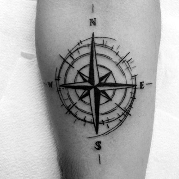 Manly Simple Compass Tattoos For Males