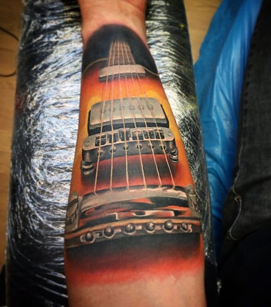 Manly Simple Guitar Tattoos