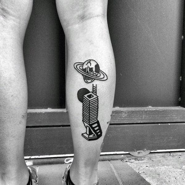 Manly Simple Skull Guys Back Of Leg Tattoo Designs