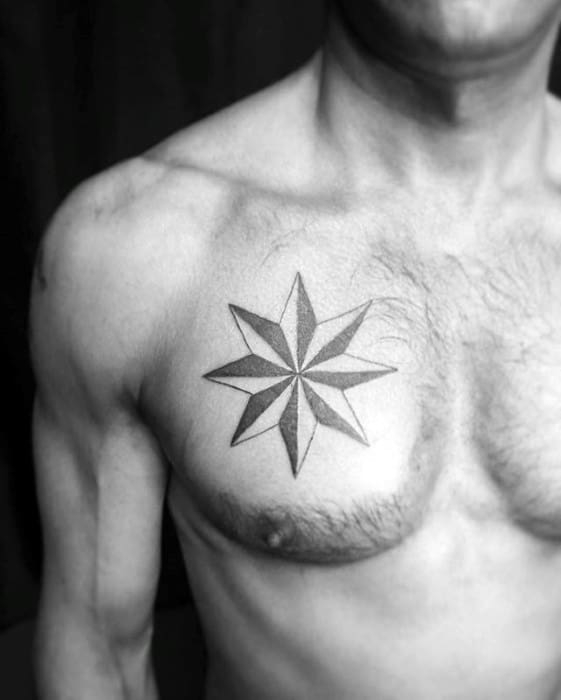 Manly Simple Star Guys Upper Chest Tattoo