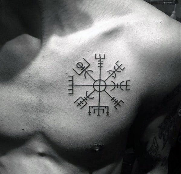 Manly Simple Symbol Viking Compass Upper Chest Tattoo