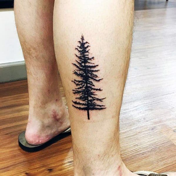 Manly Simple Tree Lower Leg Tattoos For Gentlemen