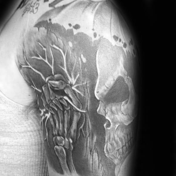 Manly Skeleton Grabbing Electrical Shock Lineman Guys Half Sleeve Shaded Tattoos
