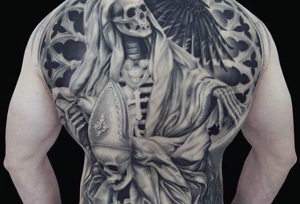 Manly Skeleton Head Tattoo On Back