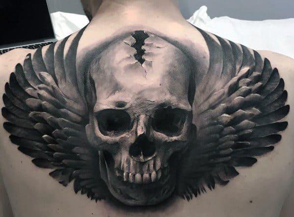 Manly Skull Back Tattoo Design Ideas For Men
