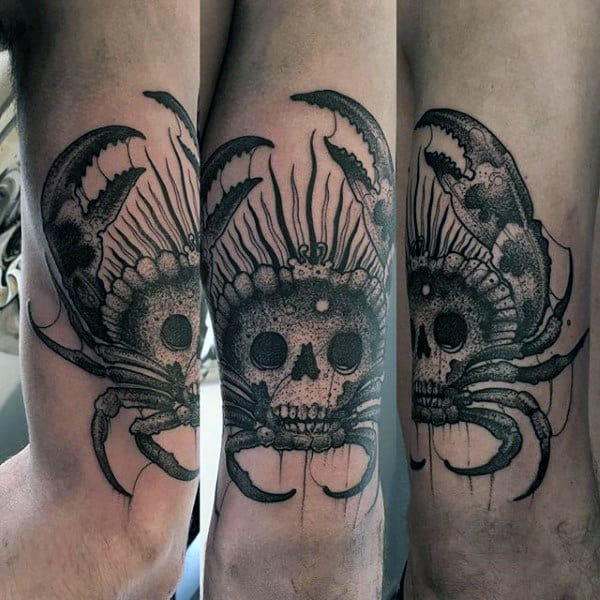 Manly Skull Crab Guys Arm Tattoo Designs