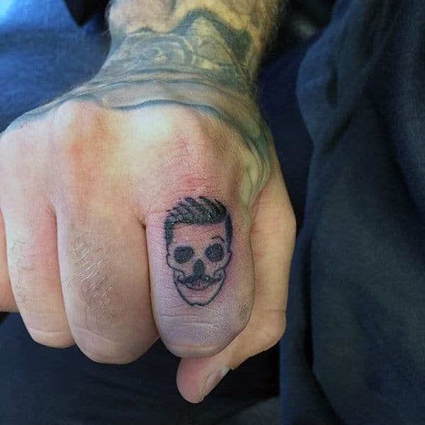 Manly Skull Finger Tattoo For Males