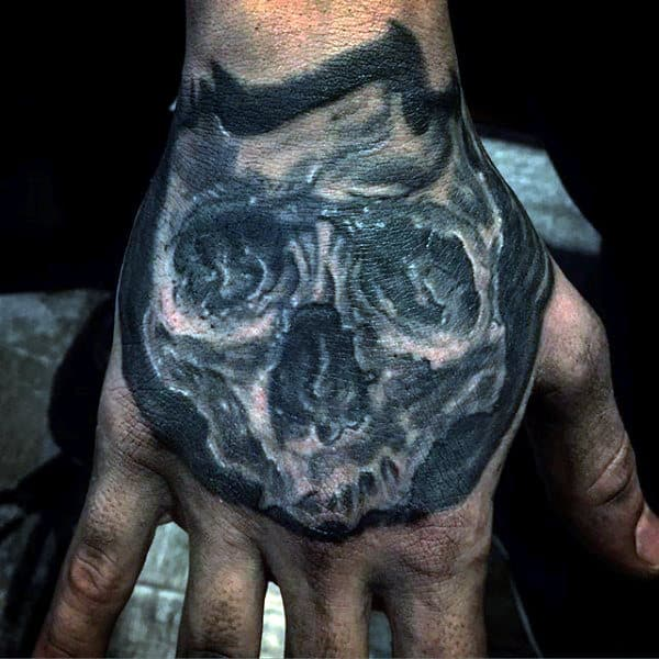 Manly Skull Mens Hand Tattoo