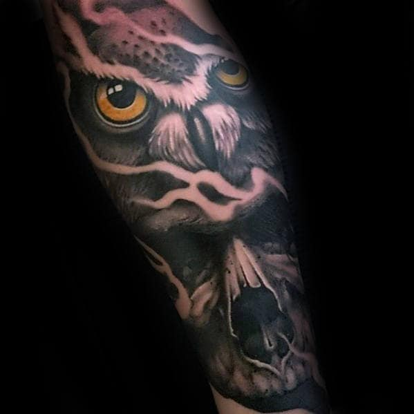 Manly Skull Owl Guys 3d Forearm Sleeve Tattoos