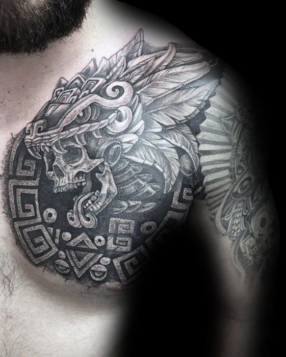 Manly Skull With Aztec Tribal Design Guys Chest Cover Up Tattoo