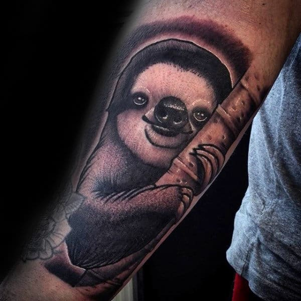 Manly Sloth Holding Onto Branch Guys Forearm Tattoo Designs