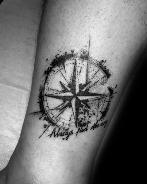 Manly Small Compass Watercolor Tattoos For Males