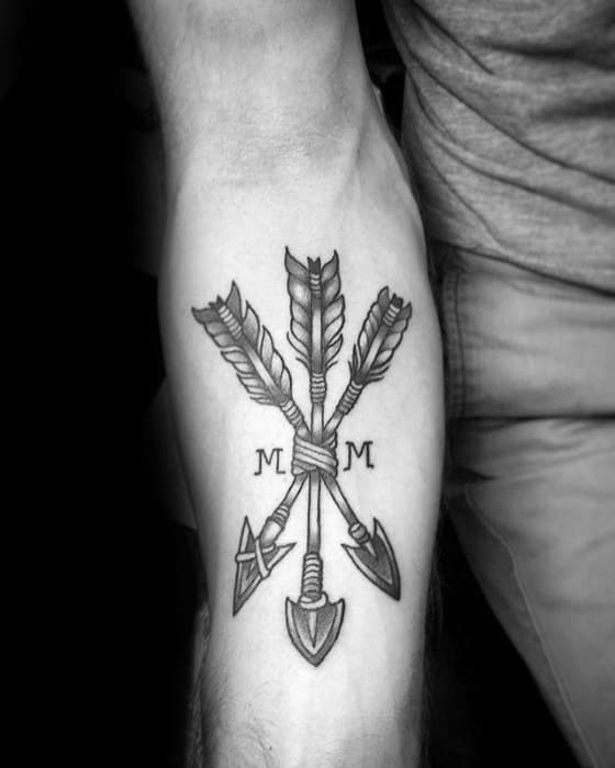 Manly Small Forearm Traditional Arrow Guys Tattoos